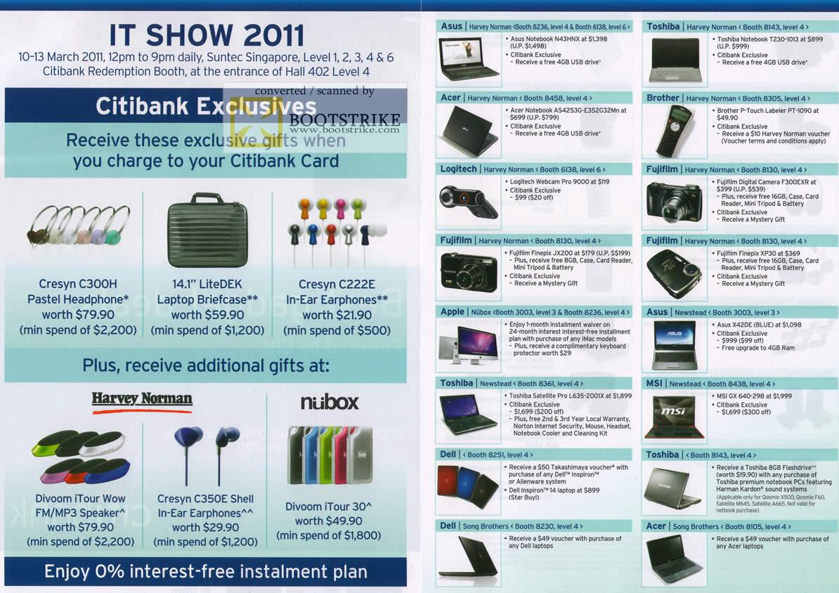 IT Show 2011 price list image brochure of Citibank Rewards Cresyn C300H LiteDek C222E Divoom ITour Harvey Norman Nubox ASUS Toshiba MSI Apple