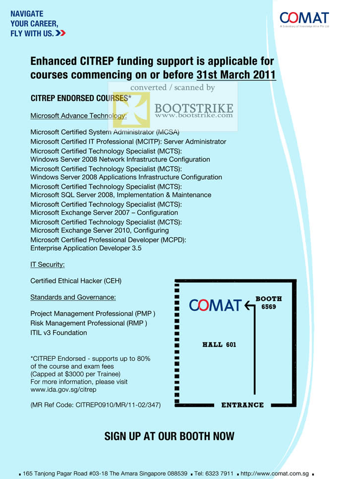 IT Show 2011 price list image brochure of Comat CITREP Funding Endorsed Courses Microsoft Certified MCSA MCTS MCPD CEH PMP ITIL