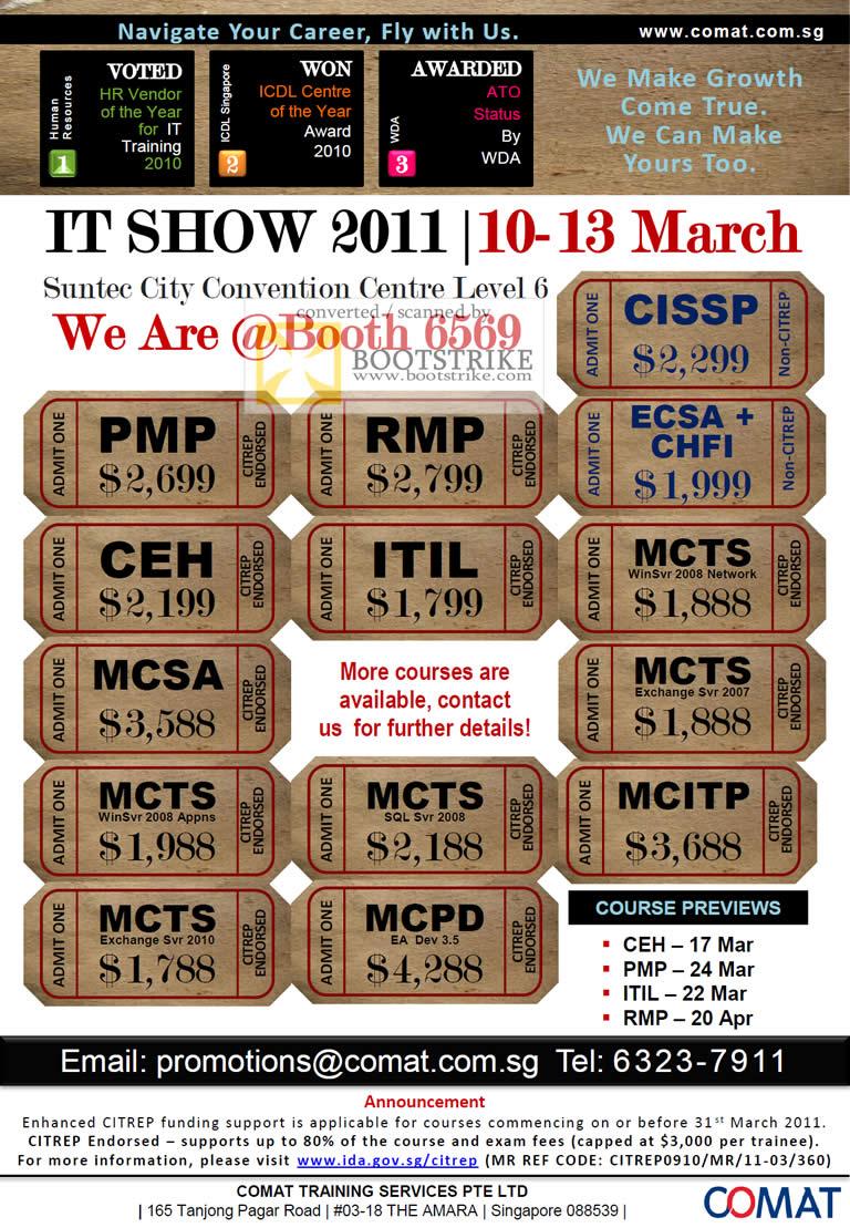 IT Show 2011 price list image brochure of Comat IT Courses CISSP PMP RMP ECSA CHFI CEH ITIL MCTS MCSA MCTS MCITP MCPD