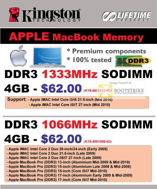 IT Show 2011 price list image brochure of Convergent Kingston Apple Macbook Memory DDR3 Sodimm 1333Mhz 1066Mhz KTA-MB1333 4G KTA-MB1066 4G
