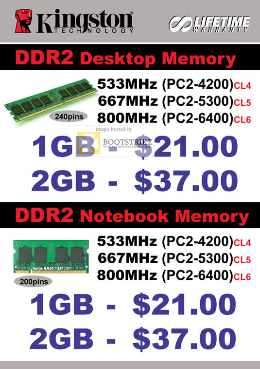 IT Show 2011 price list image brochure of Convergent Kingston DDR2 Memory Desktop Notebook 533Mhz 667Mhz 800Mhz PC2 4200 5300 6400 CL4 CL5 CL6