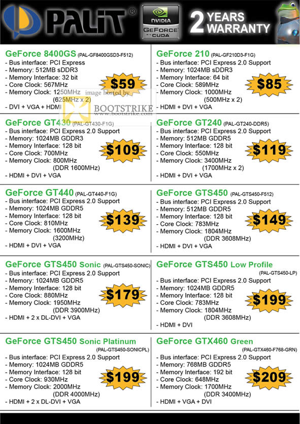 IT Show 2011 price list image brochure of Convergent Palit Geforce Graphic Card 8400GS 210 GT430 GT240 GT440 GTS450 Sonic Low Profile Platinum GTS460 Green