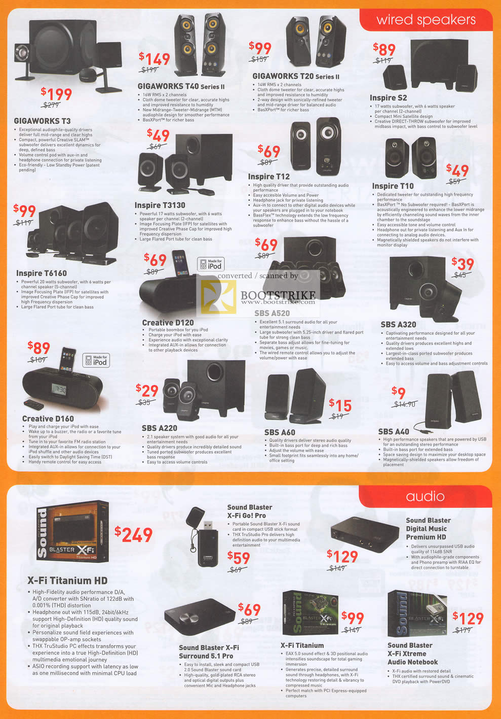 IT Show 2011 price list image brochure of Creative Speakers Gigaworks T3 T40 T20 II Inspire S2 T3130 T12 D120 SBS A320 D160 A220 A60 A40 X-Fi Titanium HD Go Pro Premium HD X-Fi Xtreme Audio Notebook