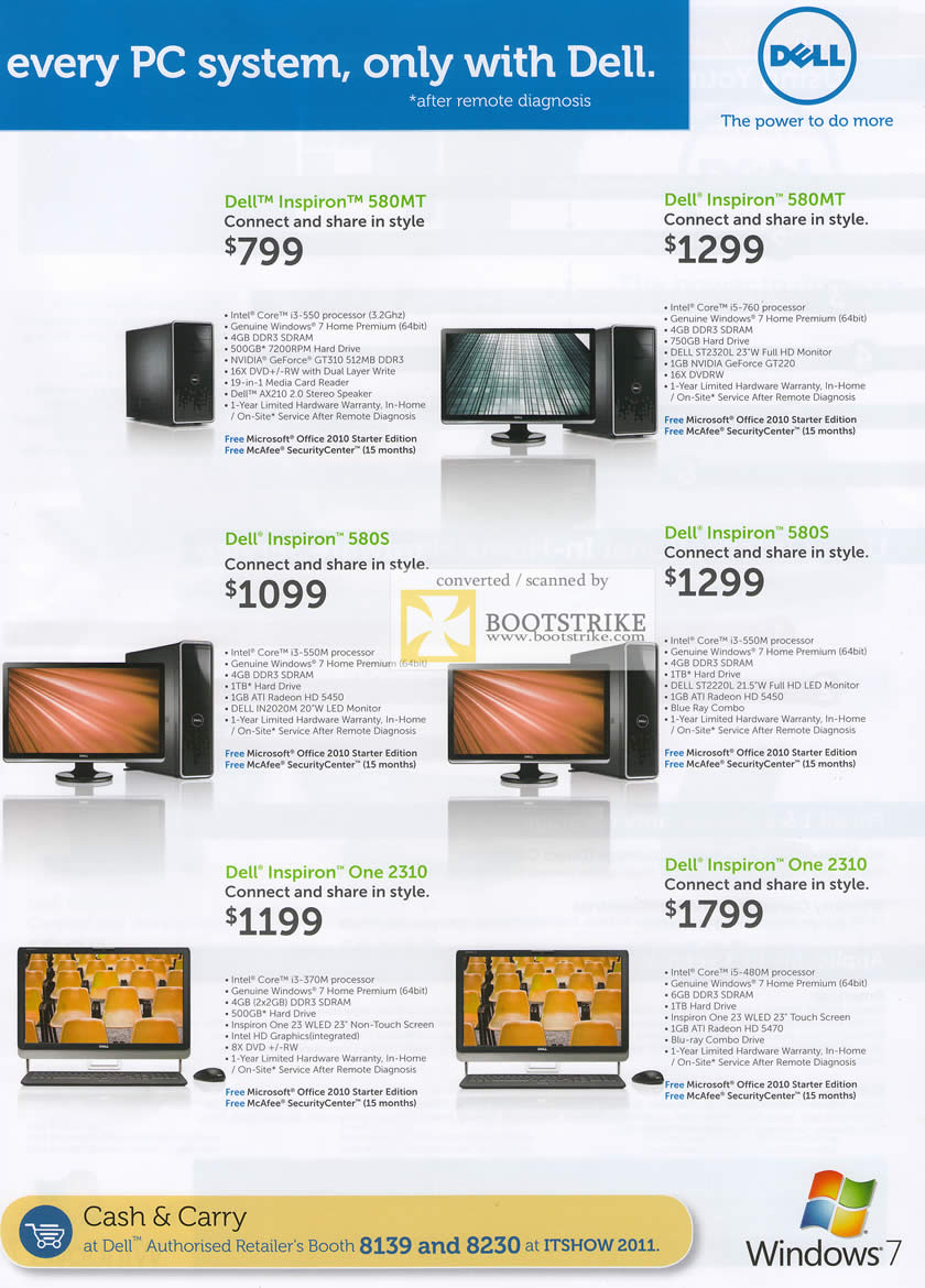 IT Show 2011 price list image brochure of Dell Desktop PC Inspiron 580MT 580S Notebooks Inspiron One 2310