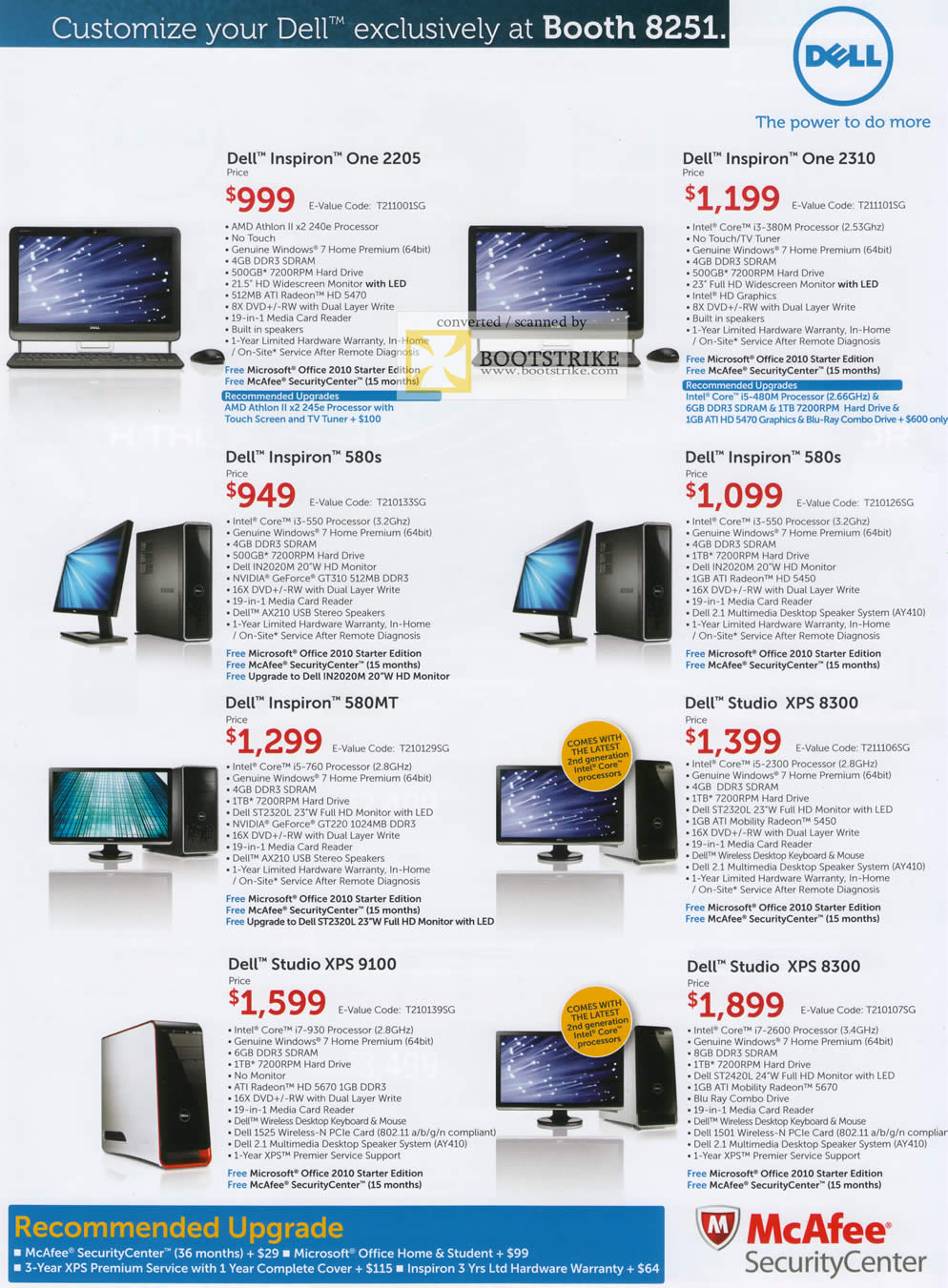 IT Show 2011 price list image brochure of Dell Desktop PC Inspiron One 2205 2310 580s 580MT Studio XPS 8300 XPS 9100 XPS 8300