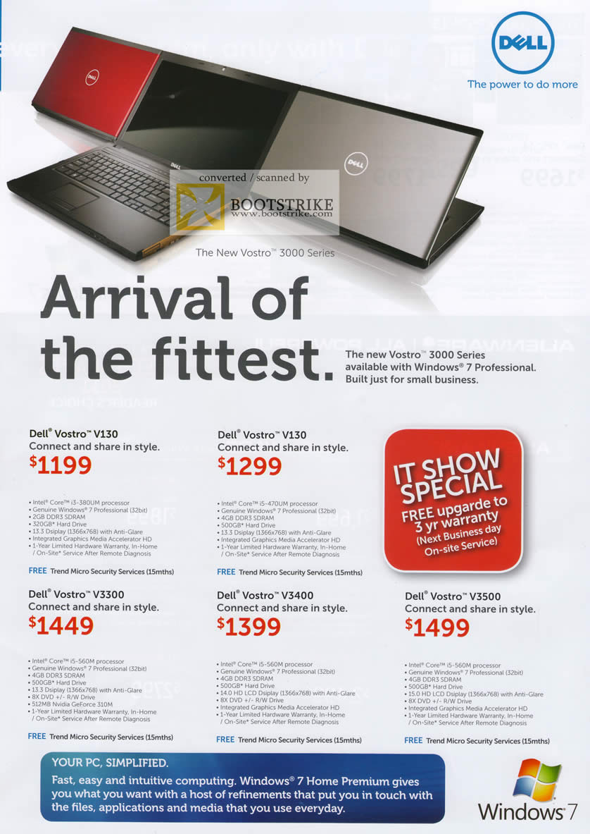 IT Show 2011 price list image brochure of Dell Notebooks Vostro Business V130 V3300 V3400 V3500