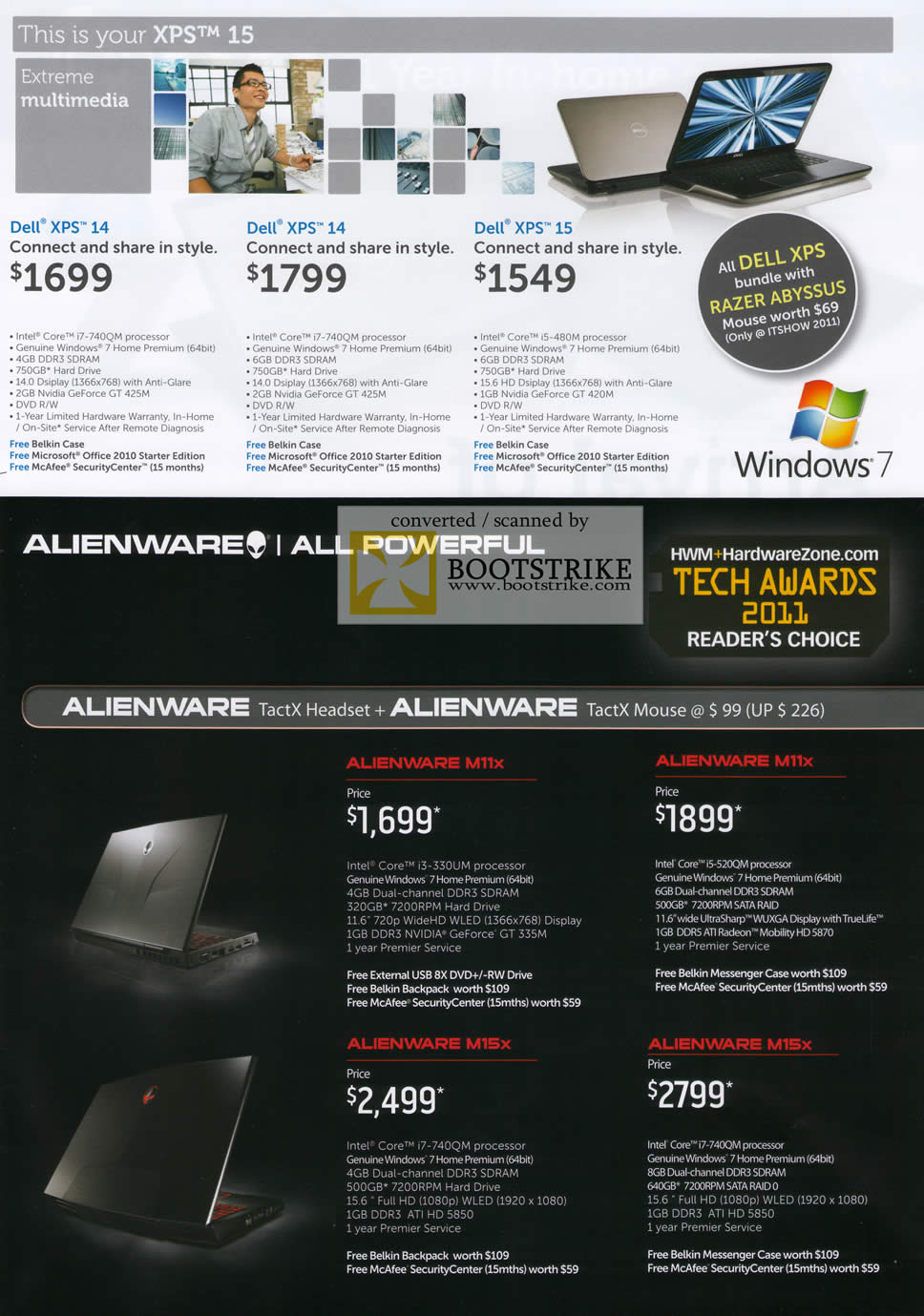 IT Show 2011 price list image brochure of Dell Notebooks XPS 14 XPS 15 Razer Abyssus Alienware M11x M15X Gaming