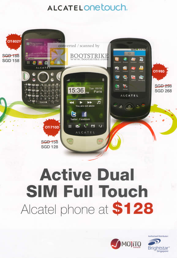 IT Show 2011 price list image brochure of Divoom Alcatel Onetouch OT-802Y OT-710D OT-980 Active Dual SIM Full Touch Mojito