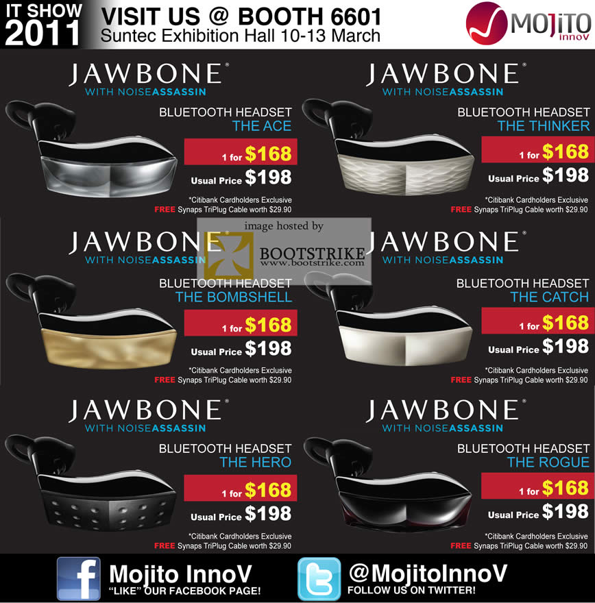 IT Show 2011 price list image brochure of Divoom Jawbone Noise Assassin Bluetooth Headset Ace Thinker Bombshell Catch Hero Rogue