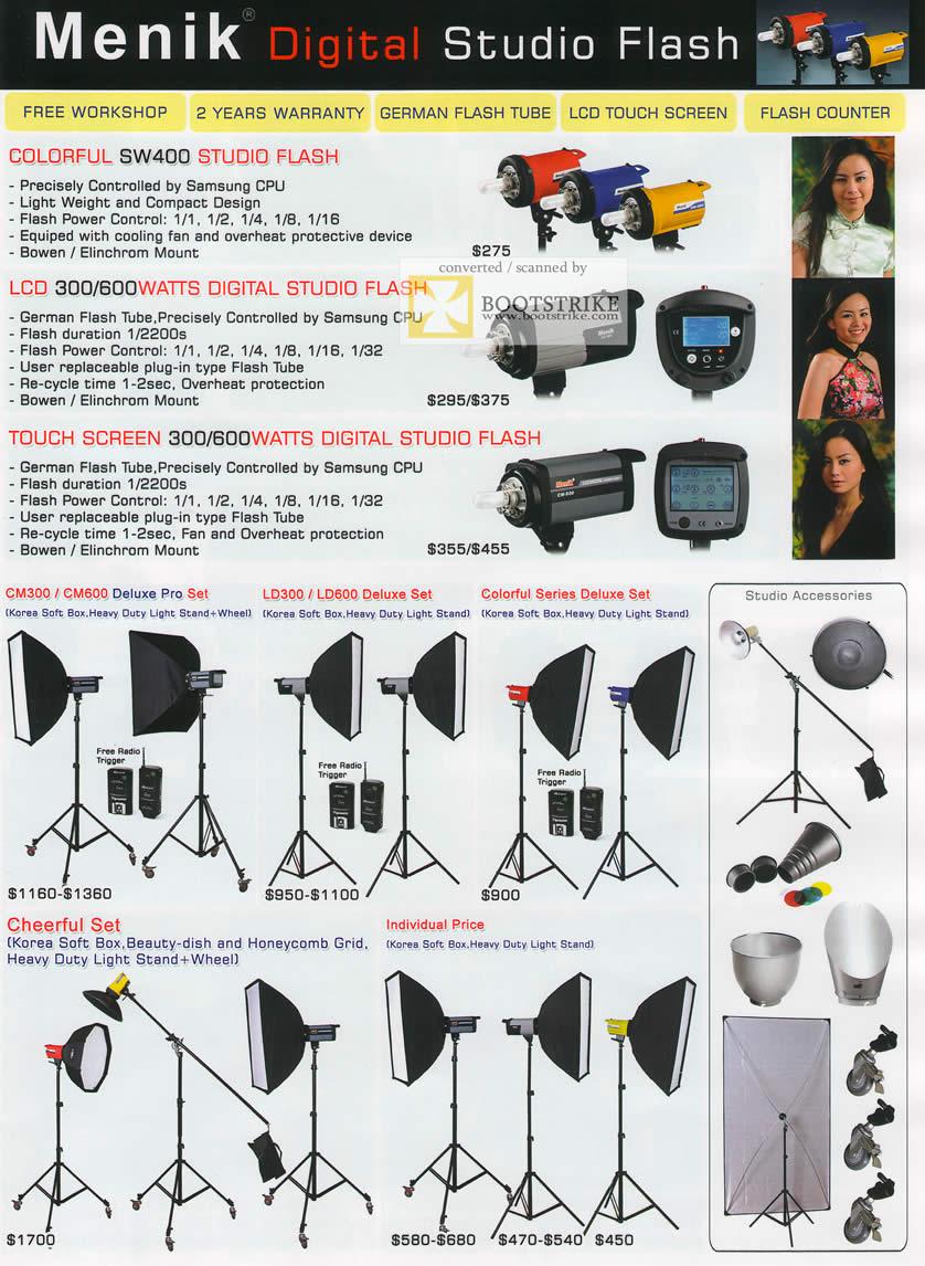 IT Show 2011 price list image brochure of EL Dorado Menik Digital Studio Flash SW400 Colorful Touch Screen CM300 Deluxe Pro Set Cheerful