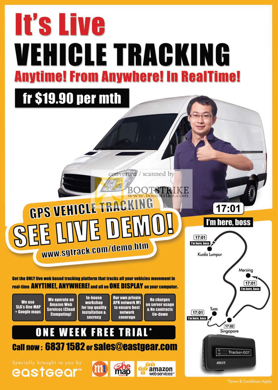IT Show 2011 price list image brochure of Eastgear GPS Vehicle Tracking One Map M1