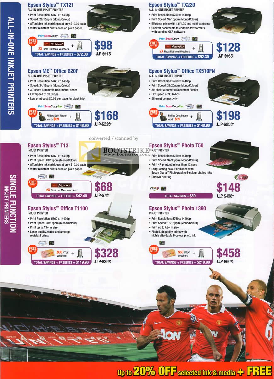 IT Show 2011 price list image brochure of Epson Inkjet Printers Stylus TX121 TX220 ME Office 620F TX510FN T13 Photo T50 T1100 1390