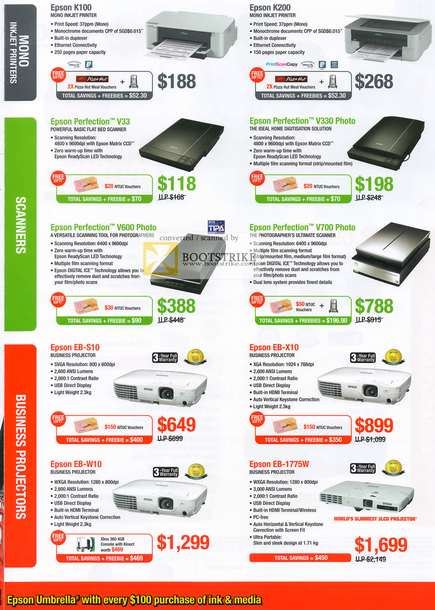 IT Show 2011 price list image brochure of Epson Printers Inkjet K100 K200 Scanners Perfection V33 V330 V600 V700 Projectors EB-S10 EB-W10 EB-X10 EB-1775W