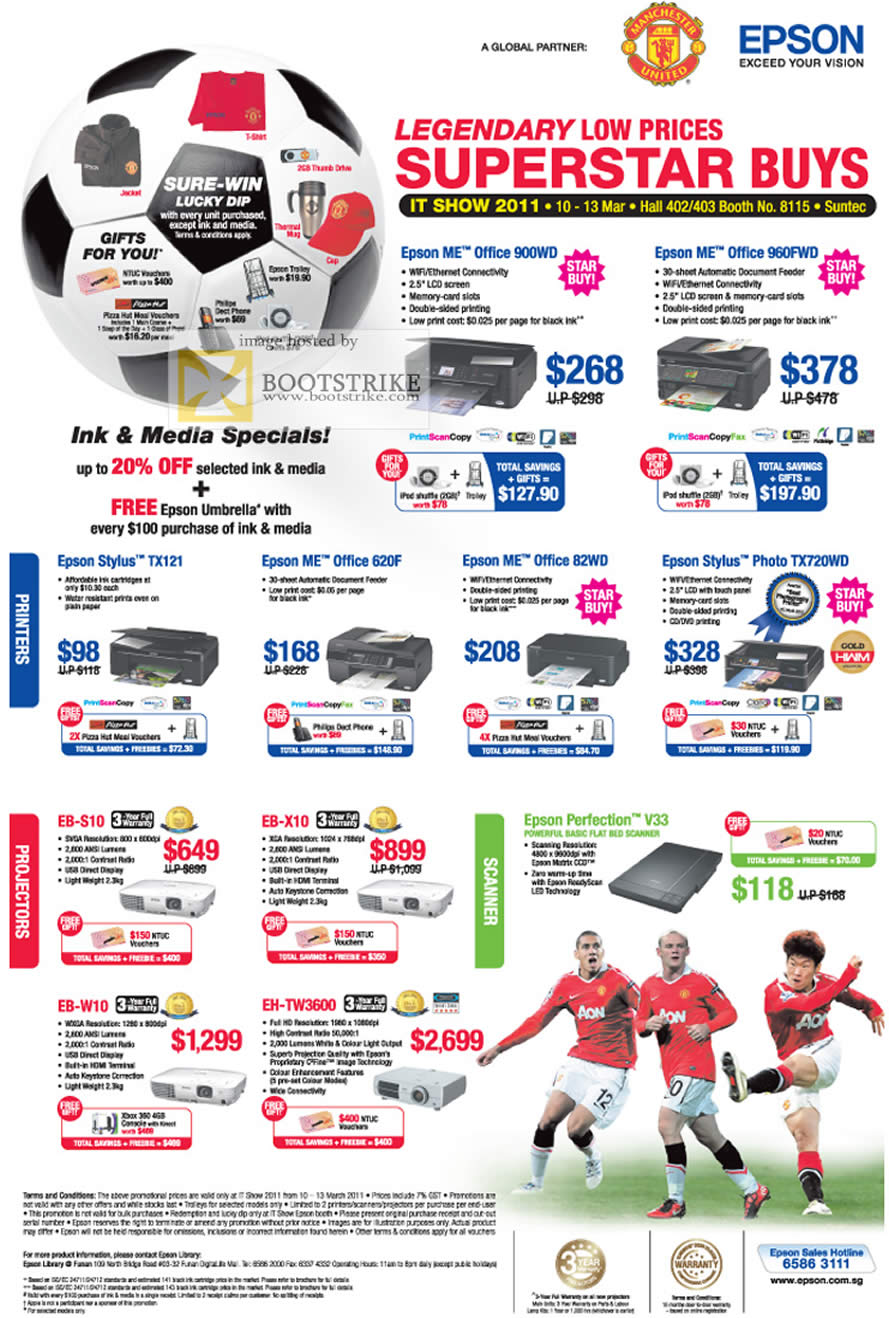 IT Show 2011 price list image brochure of Epson Printers ME Office 900WD 960FWD Stylus TX121 620F 82WD TX720WD Projectors EB S10 X10 W10 TW3600 Scanner Perfection V33