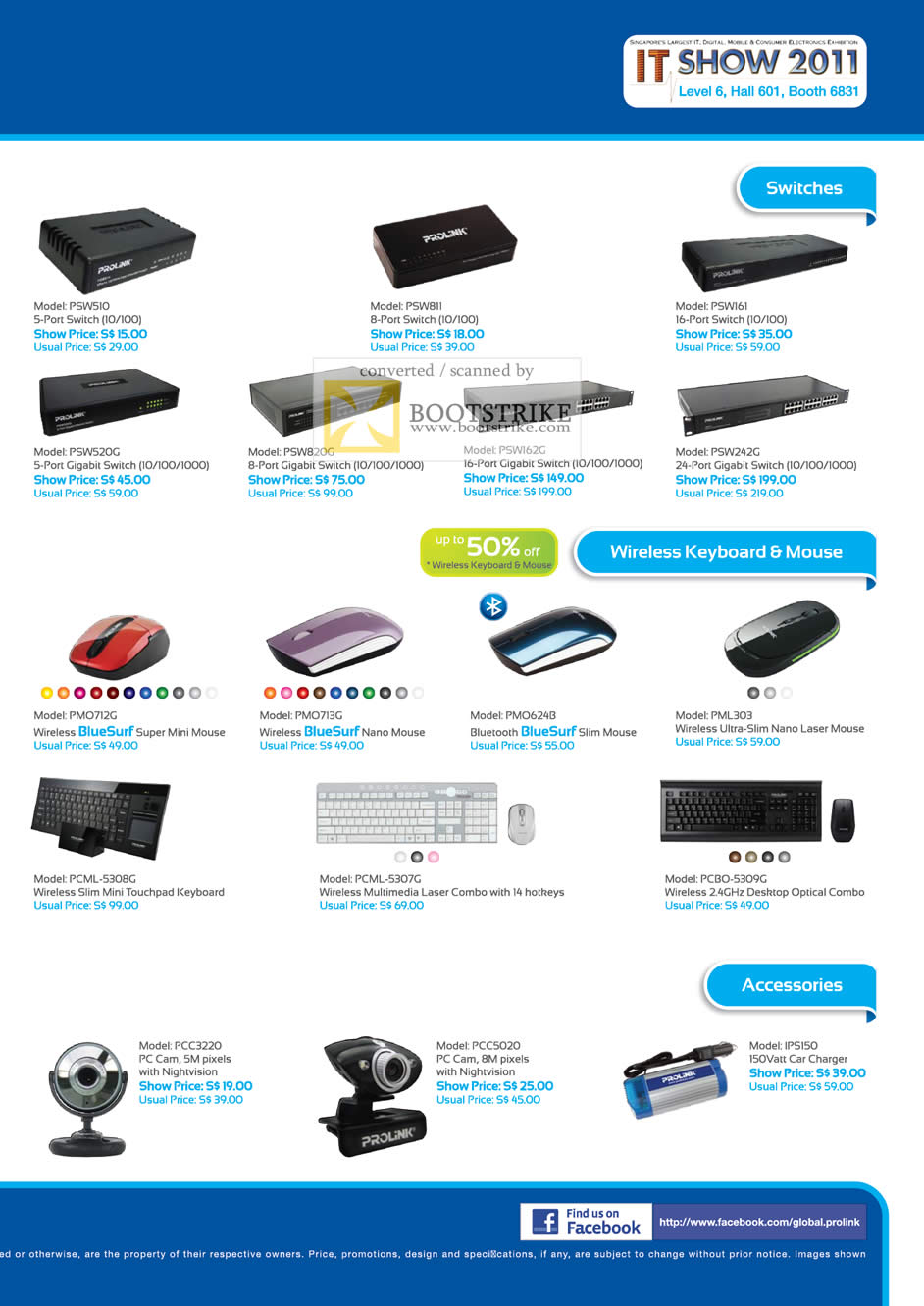 IT Show 2011 price list image brochure of Fida Intl Prolink Gigabit Switch Wireless Keyboard Bluesurf Nano Laser Mouse Webcam Car Charger