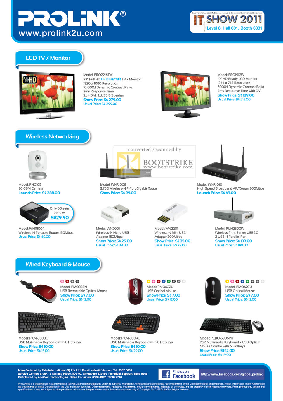IT Show 2011 price list image brochure of Fida Intl Prolink LCD TV Monitor PRO2216TW PRO1912W Wireless 3G GSM Camera Gigabit Router Optical Mouse Print Server Keyoard