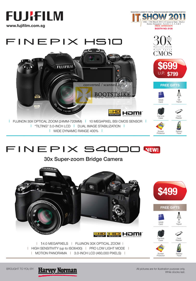 IT Show 2011 price list image brochure of Fujifilm Digital Cameras Finepix HS10 S4000 Harvey Norman