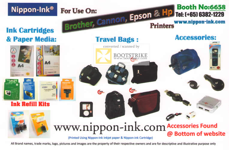 IT Show 2011 price list image brochure of G-Cap Nippon-Ink Ink Cartridges Paper Media Refill Kits Travel Bags Accessories