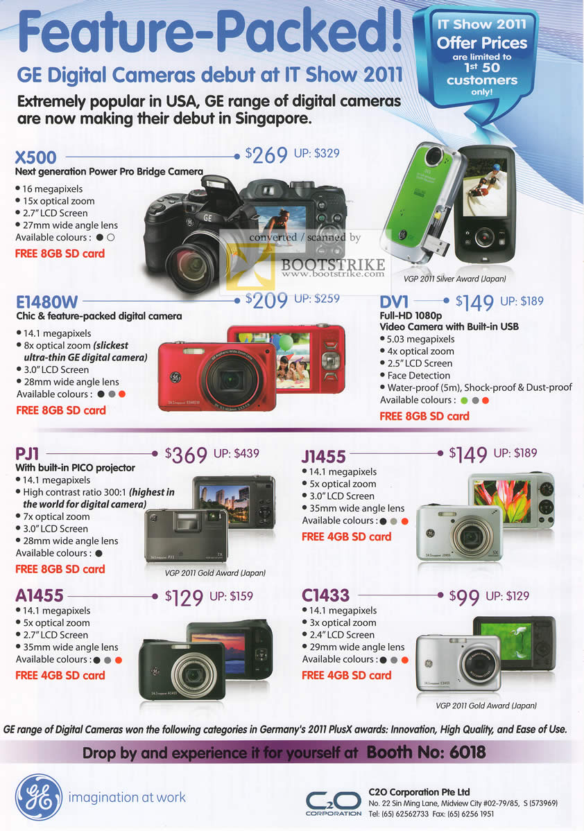 IT Show 2011 price list image brochure of GE Digital Cameras Power Pro Bridge X500 E1480W DV1 PJ1 J1455 A1455 C1433 Camcorder Pico Projector