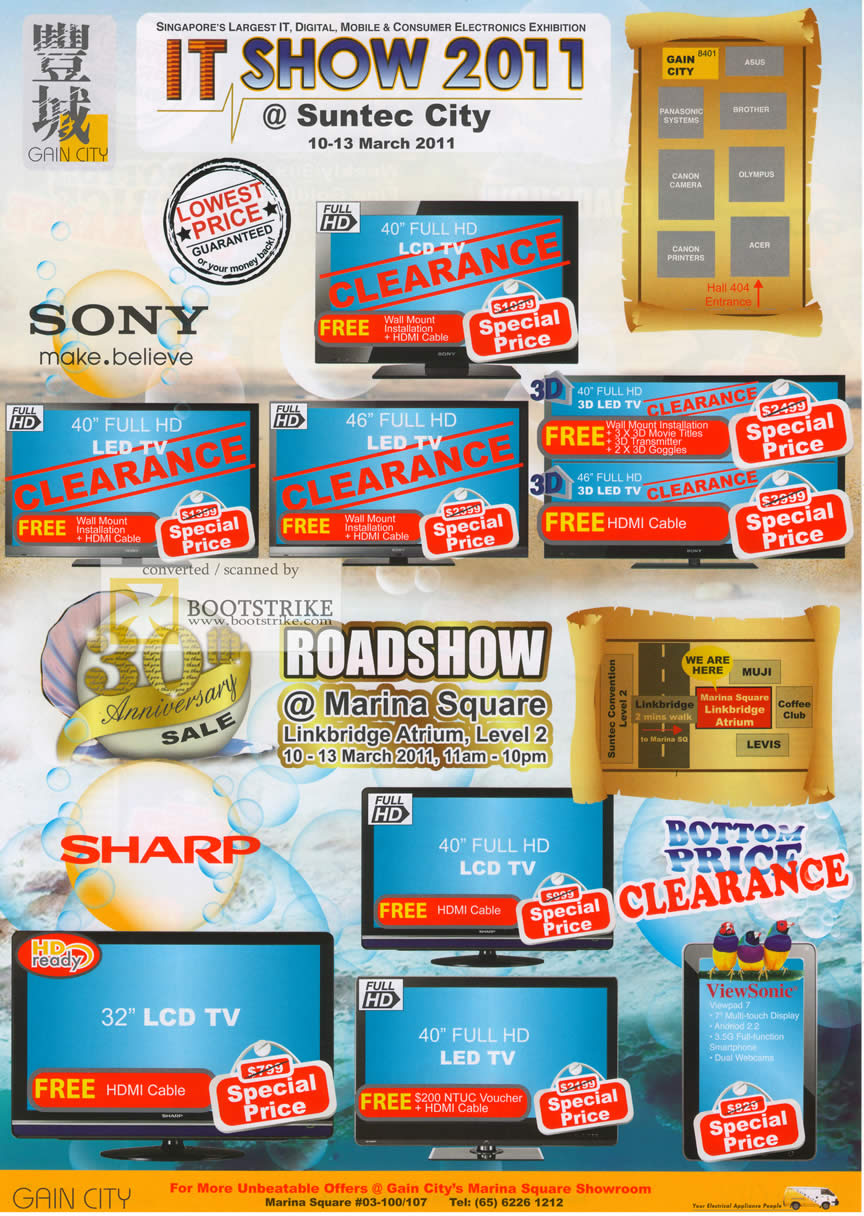 IT Show 2011 price list image brochure of Gain City Sony LED LCD TV Sharp Viewsonic Viewpad 7