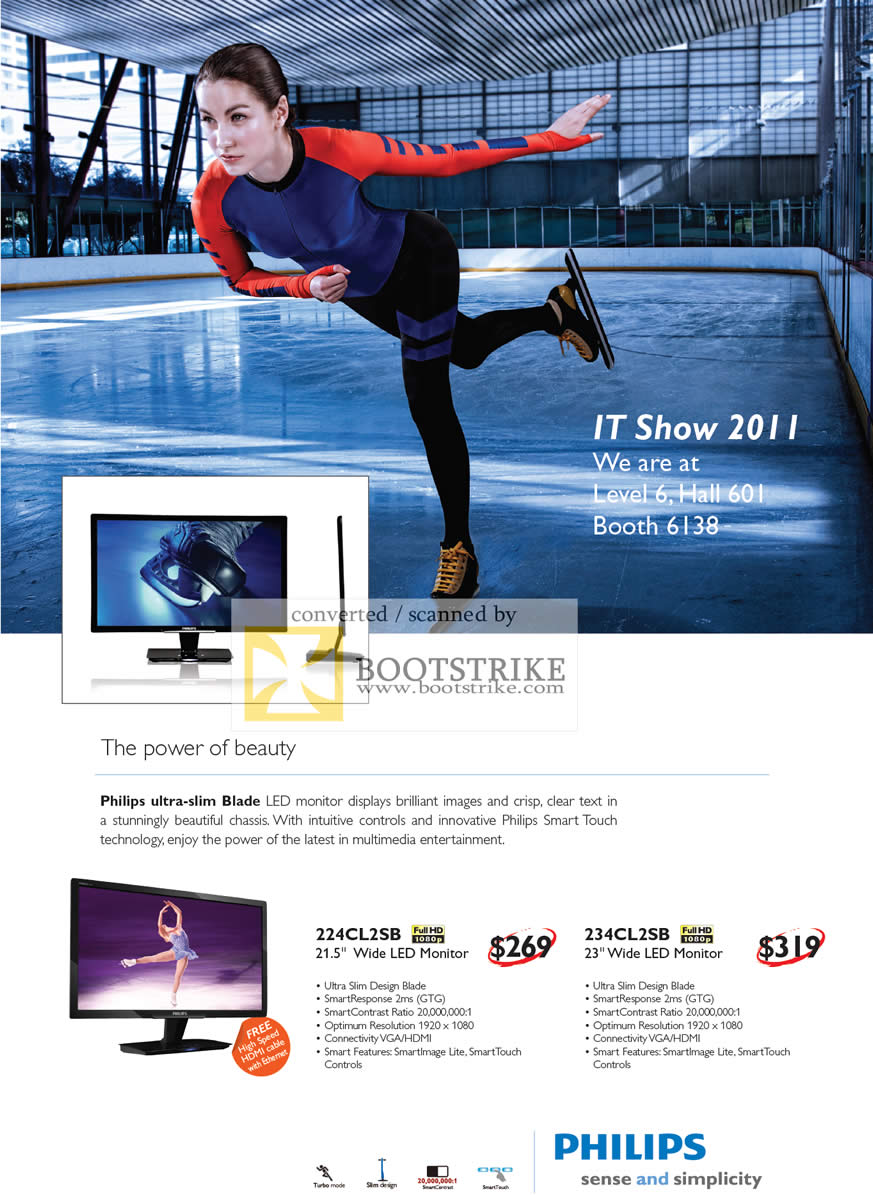 IT Show 2011 price list image brochure of Harvey Norman Philips Blade LED Monitors 224CL2SB 234CL2SB