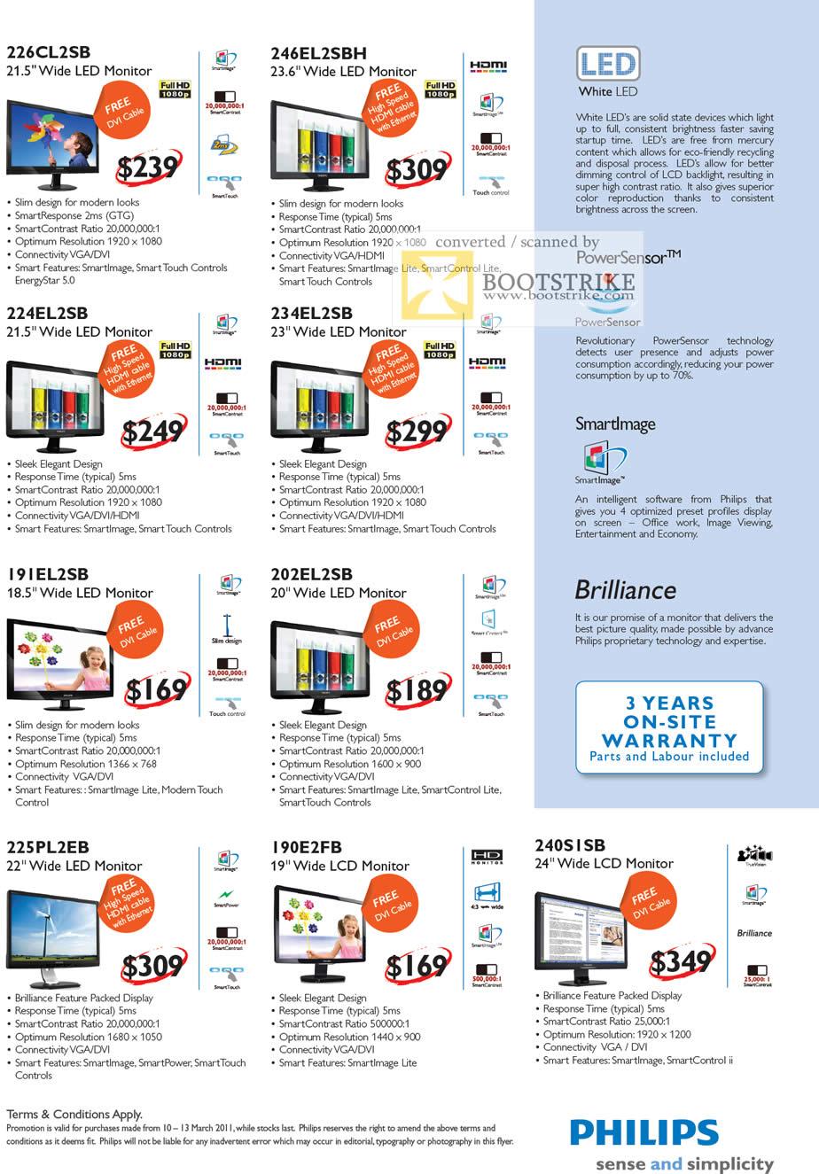 IT Show 2011 price list image brochure of Harvey Norman Philips LED Monitors 226CL2SB 246EL2SBH 224EL2SB 234EL2SB 191EL2SB 202EL2SB 225PL2EB 190E2FB 240SISB Brilliance