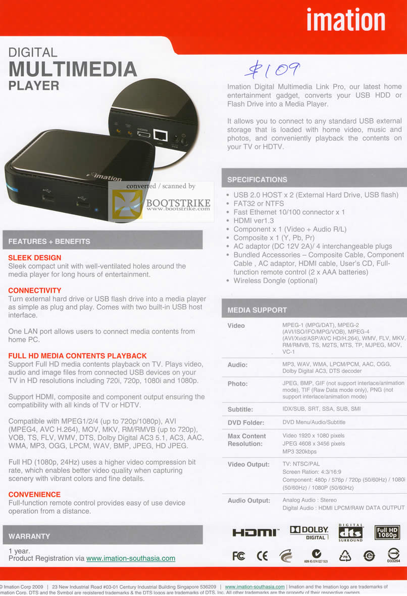 IT Show 2011 price list image brochure of Imation Digital Multimedia Link Pro Media Player