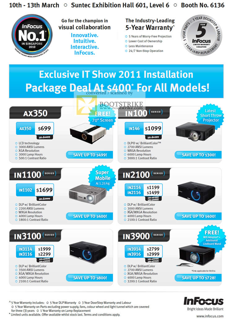 IT Show 2011 price list image brochure of Infocus Projectors AX350 IN100 IN1100 IN2100 IN3100 IN3900