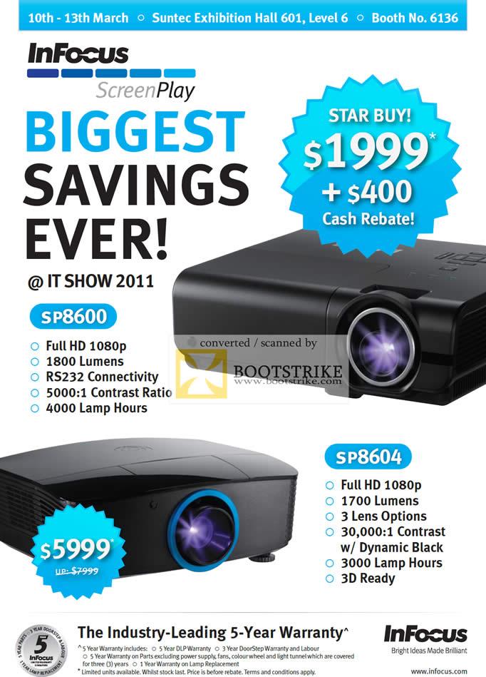 IT Show 2011 price list image brochure of Infocus Projectors SP8600 SP8604 ScreenPlay