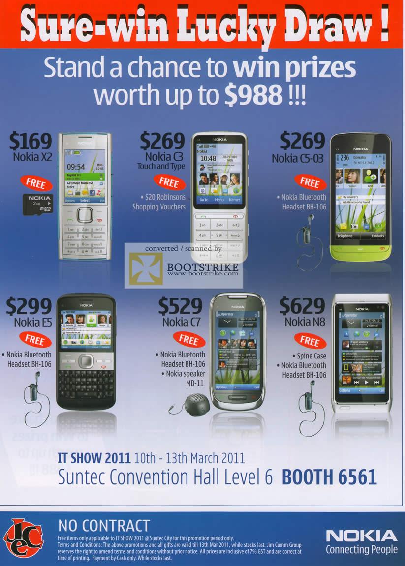 IT Show 2011 price list image brochure of Jim Rich Nokia Mobile Phones Nokia X2 C3 C5-03 E5 C7 N8