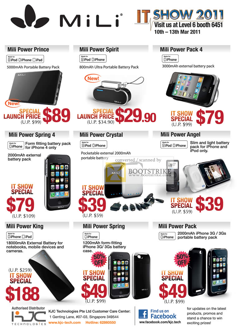 IT Show 2011 price list image brochure of KJC ITech Mili Battery Packs IPhone Power Prince Spirit Pack 4 Spring 4 Crystal Angel King Spring