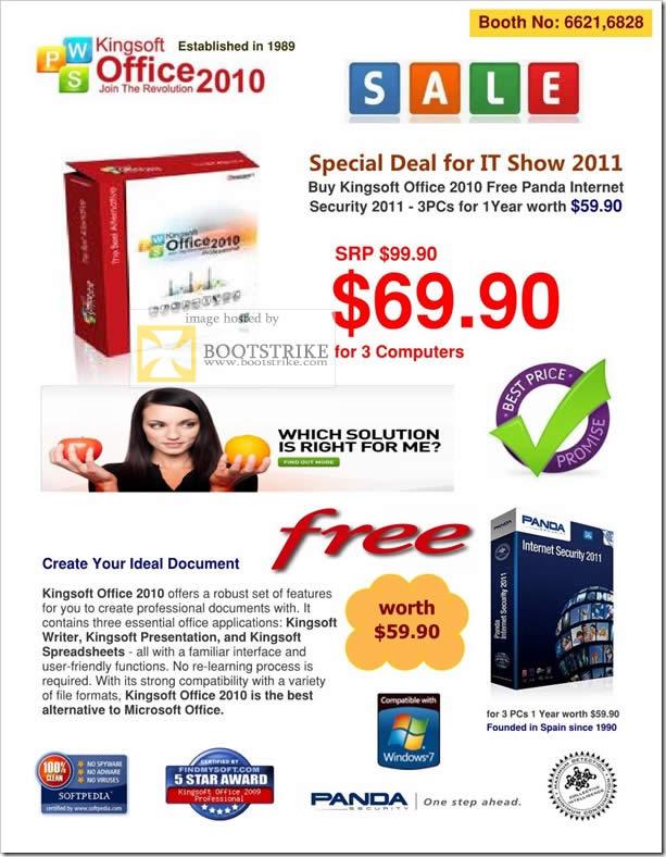 IT Show 2011 price list image brochure of Kingsoft Office 2010 Worldwide Computers Abscom