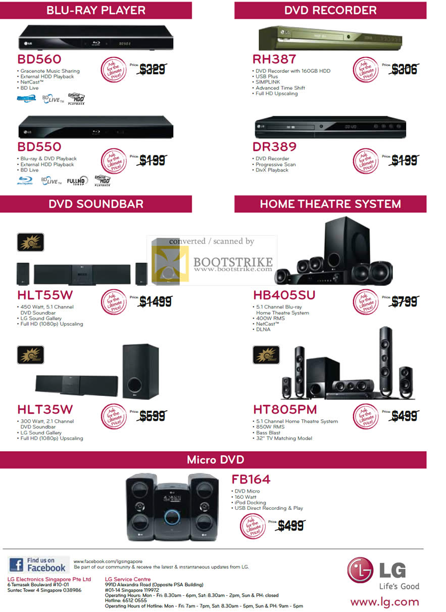 IT Show 2011 price list image brochure of LG Blu-Ray Player BD560 BD550 DVD Recorder RH387 DR389 Soundbar HLT55W HLT35W Home Theater HB405SU HT805PM Micro FB164