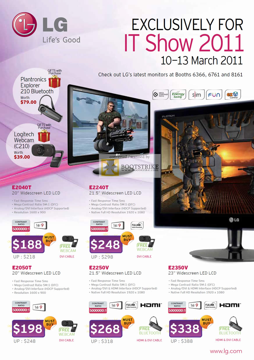 IT Show 2011 price list image brochure of LG LED Monitors E2040T E2240T E2050T E2250V E2350V