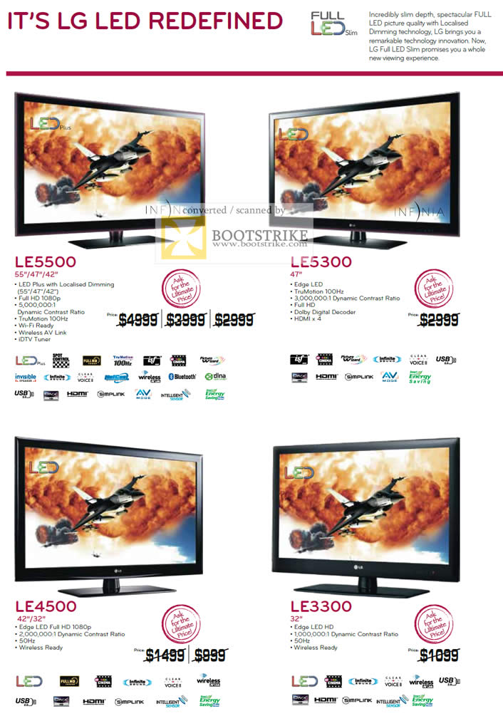 IT Show 2011 price list image brochure of LG LED TV LE5500 LE5300 LE4500 LE3300 Edge LED