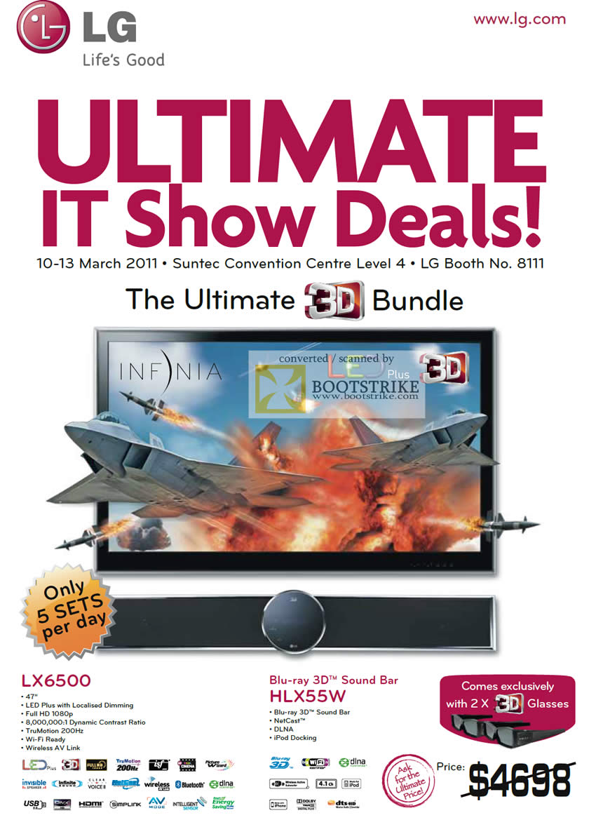 IT Show 2011 price list image brochure of LG LED TV LX6500 HLX55W Blu-Ray 3D Sound Bar