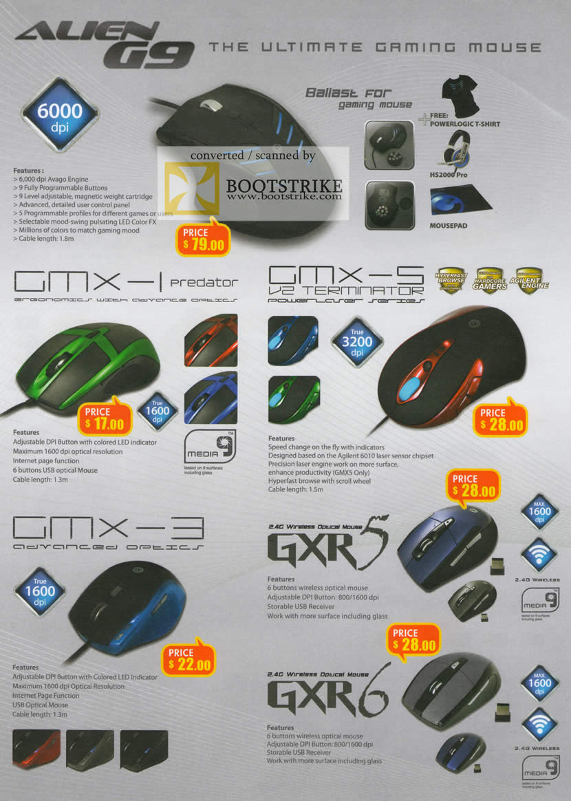 IT Show 2011 price list image brochure of Leapfrog Powerlogic Mouse Gaming Alien G9 GMX-1 Predator GMX-5 V2 Terminator GMX-3 GXR5 GXR6