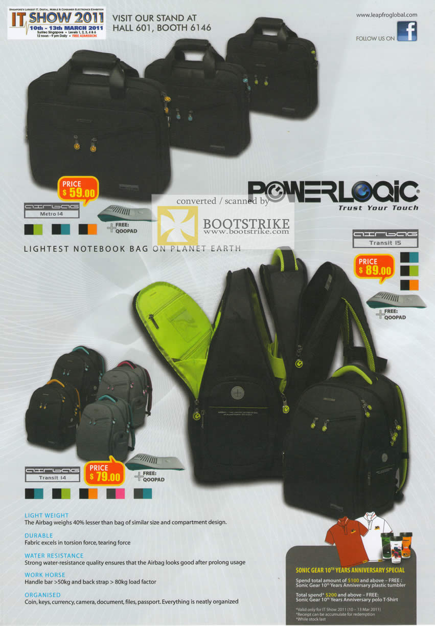 IT Show 2011 price list image brochure of Leapfrog Powerlogic Notebook Bags Metro 14 Transit 14