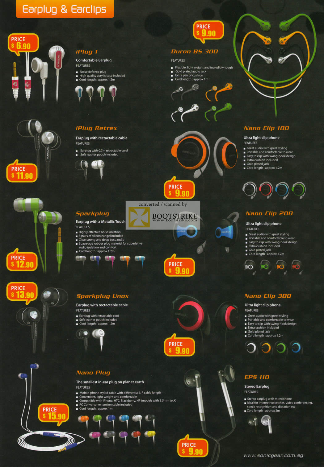 IT Show 2011 price list image brochure of Leapfrog Sonicgear Earphones IPlug 1 Duron BS 300 Retrex Nano Clip 100 Sparkplug 200 Unox 300 EPS 110