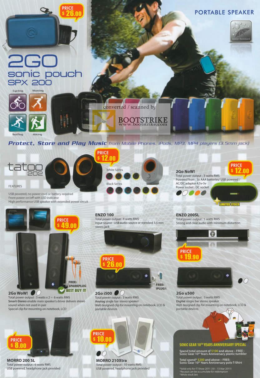 IT Show 2011 price list image brochure of Leapfrog Sonicgear Speakers 2Go Sonic Pouch Tatoo 202 Now Enzo 100 Enzo 200Sl WoW I500 U500 Morro 200 SL 210Xtra
