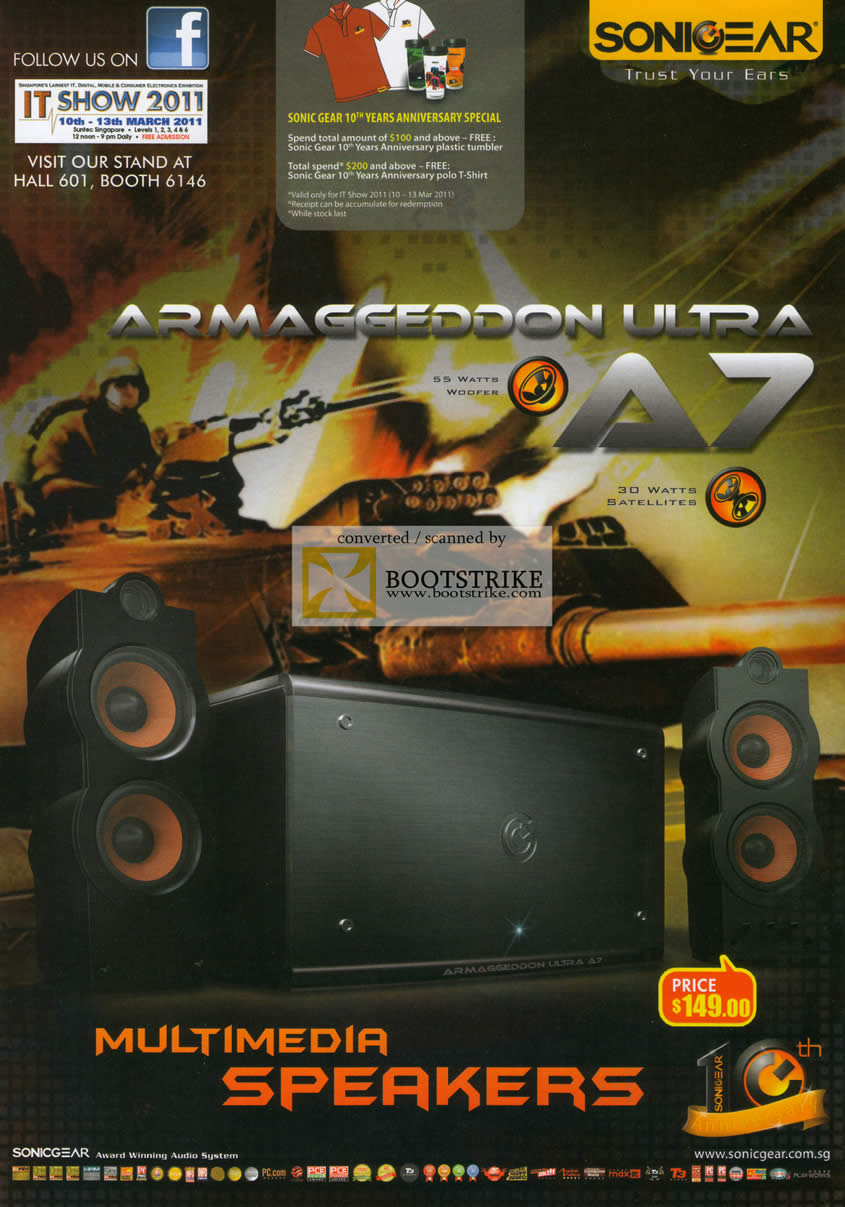 IT Show 2011 price list image brochure of Leapfrog Sonicgear Speakers Armaggeddon Ultra A7