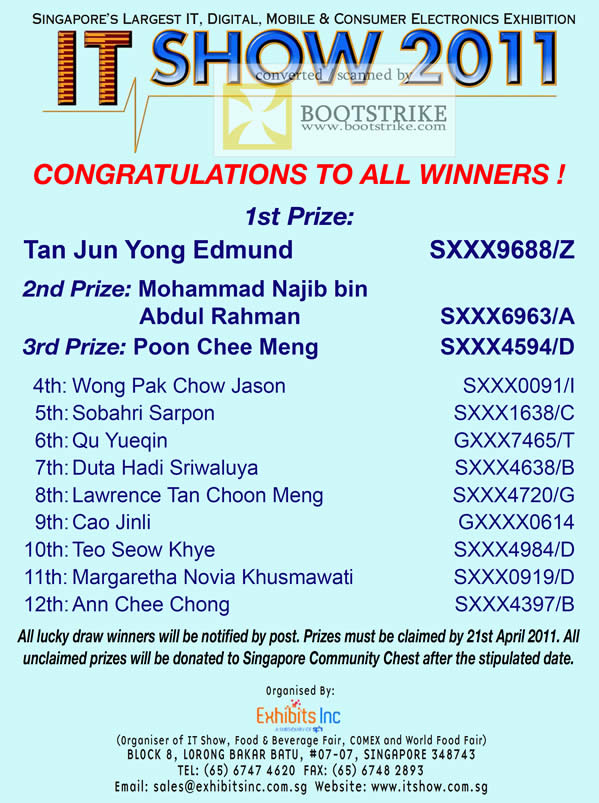 IT Show 2011 price list image brochure of Lucky Draw Results Winners