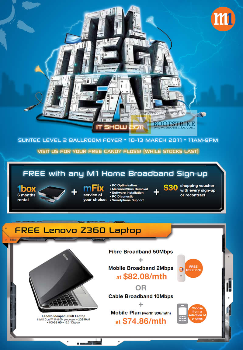 IT Show 2011 price list image brochure of M1 Fibre Mobile Cable Broadband Lenovo Z360 Home Free Candy Floss