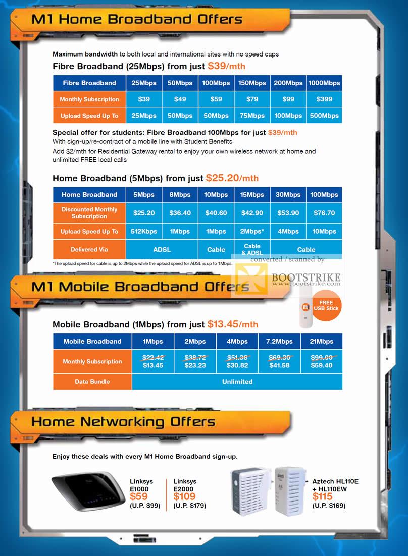IT Show 2011 price list image brochure of M1 Fibre Mobile Cable Broadband Lenovo Z360 Home Linksys E1000 E2000 Aztech HL110E HL110EW