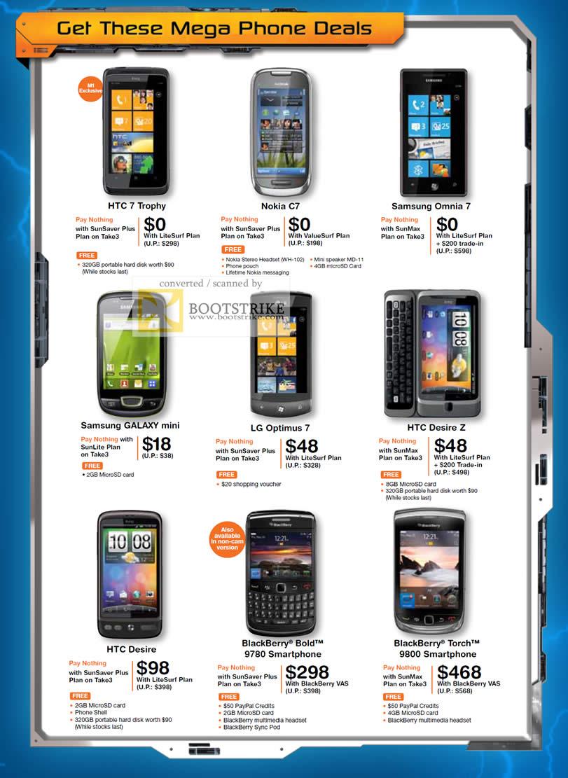 IT Show 2011 price list image brochure of M1 Mobile Phones HTC 7 Trophy Nokia C7 Samsung Omnia 7 Galaxy Mini LG Optimus 7 Desire Z Blackberry Bold 9780 Torch 9800