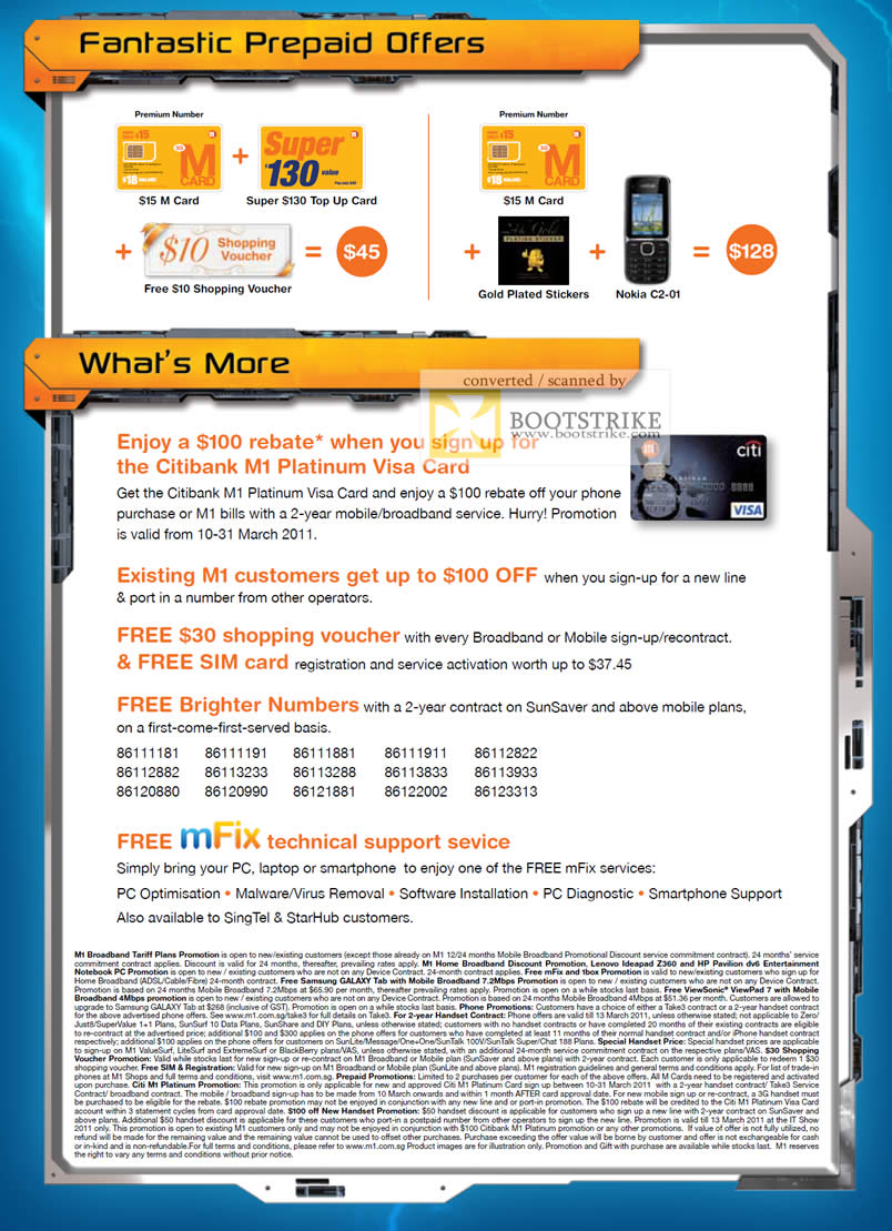 IT Show 2011 price list image brochure of M1 Prepaid Super 130 M Card Citibank Shopping Voucher