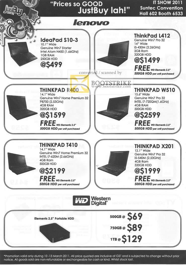 IT Show 2011 price list image brochure of Marque Ventures Lenovo Ideapad S10-3 Thinkpad L412 R40 W510 T410 X201 WD External Storage Elements