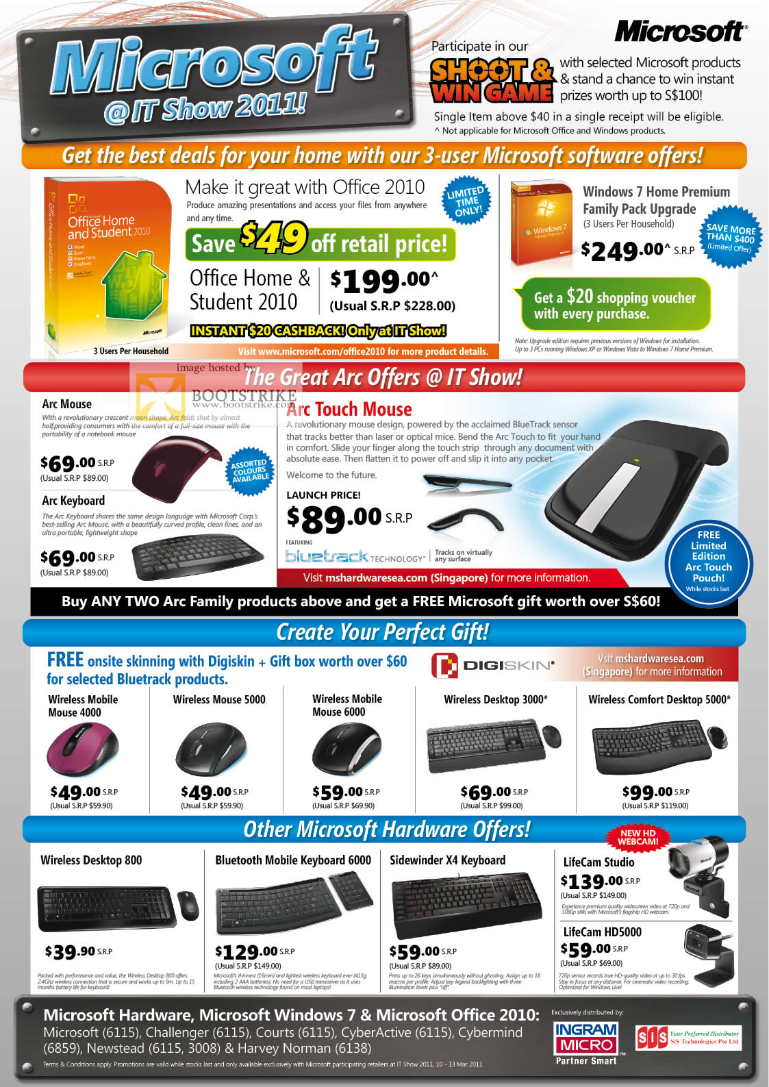 IT Show 2011 price list image brochure of Microsoft Office 2010 Windows 7 Arc Mouse Keyboard Touch Digiskin Wireless Comfort Desktop Bluetooth Mobile Sidewinder Lifecam Webcam