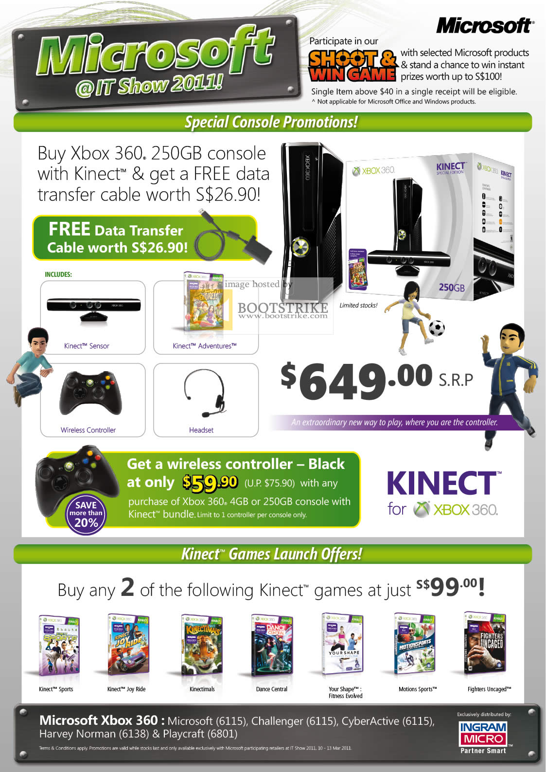 IT Show 2011 price list image brochure of Microsoft Xbox 360 Kinect Wireless Controller Game Launches Sports Joy Ride Dance Central Kinectimals Motions Sports