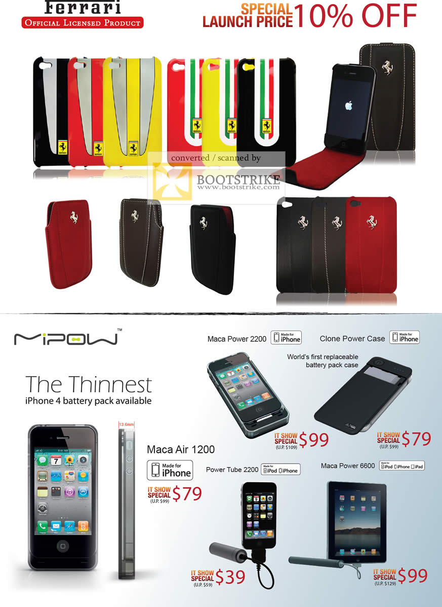 IT Show 2011 price list image brochure of Mobile Labs Ferrari Mi Pow IPhone Case Maca Air Battery Pack Maca Power 2200 Clone Power Tube 2200 6600